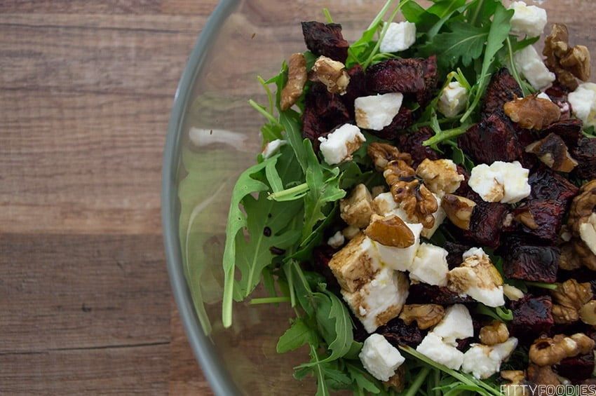 [picture of roasted beet, goat cheese & walnut salad]