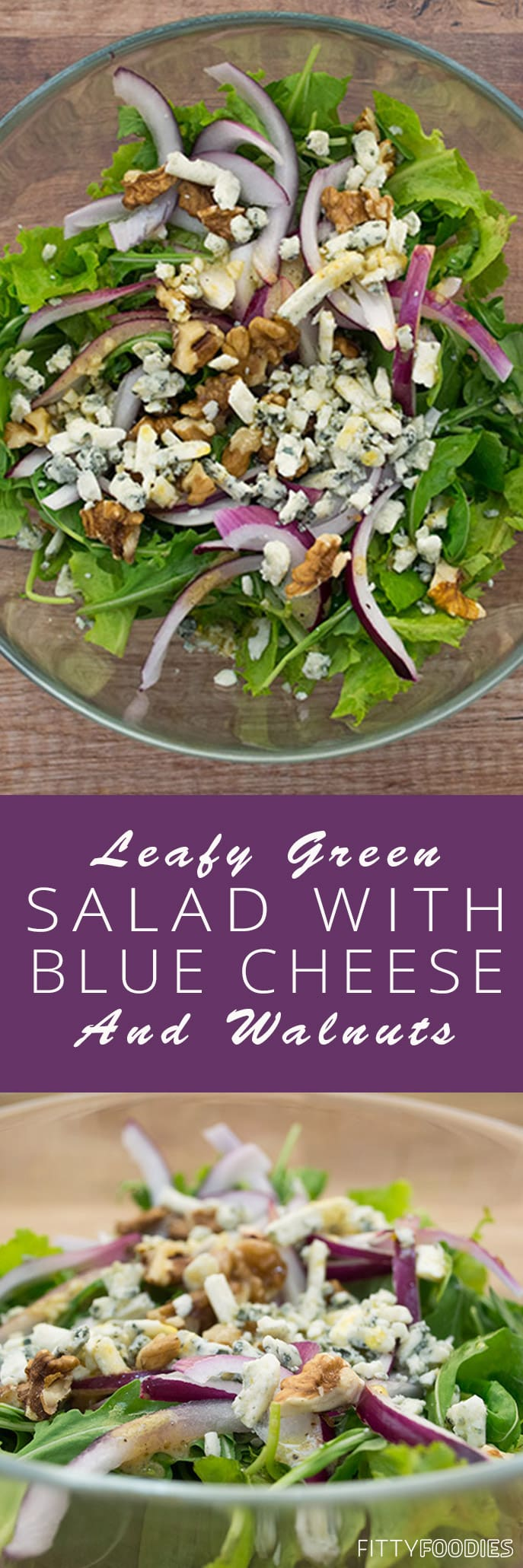 [picture of leafy green salad with blue cheese & walnuts]