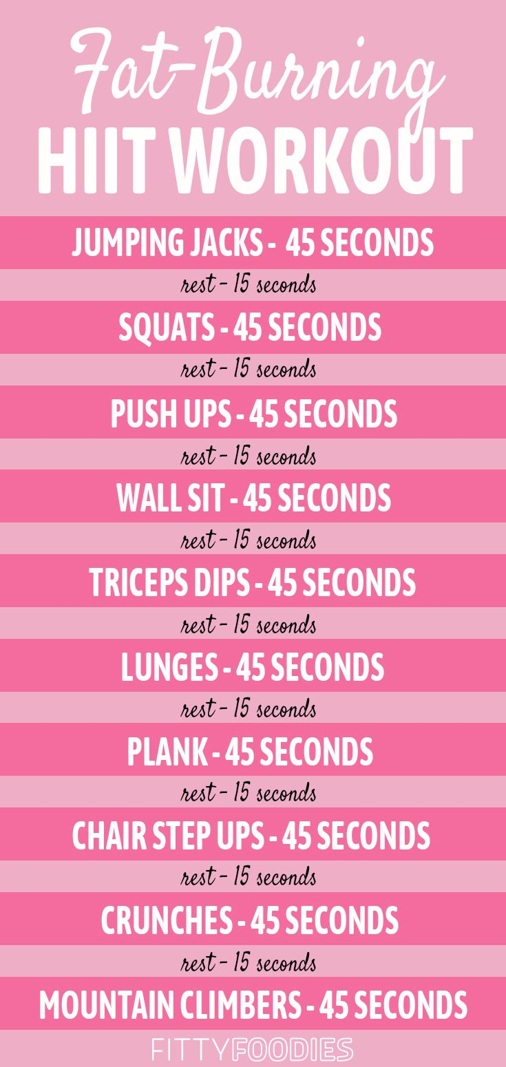 fat burning hiit workout infographic printable